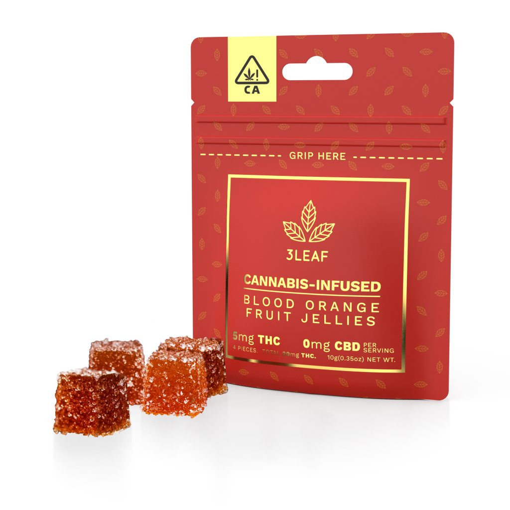 3Leaf's Blood Orange Fruit Jellies. With four jellies per package, each with a low-dose of 5mg THC per piece, 20mg THC total per package. These natural jellies offer an effective way to control your dose.