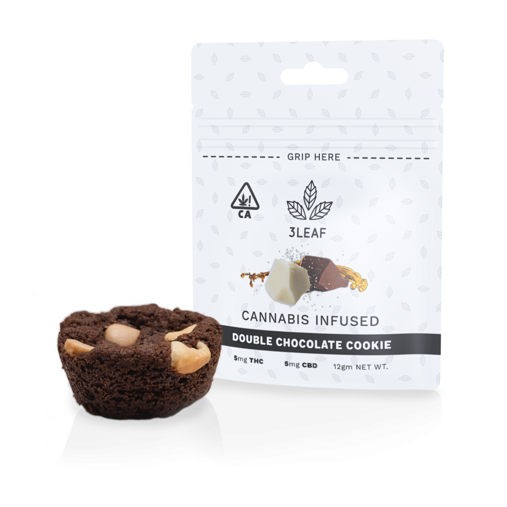 3Leaf ratio-infused Double Chocolate Cookie. One cookie is placed in front of a 3Leaf package.