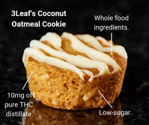 3Leaf's Coconut Oatmeal Cookies make the best edibles for sleep because they contain 10 milligrams of pure THC distillate, whole food ingredients, and low-sugar.