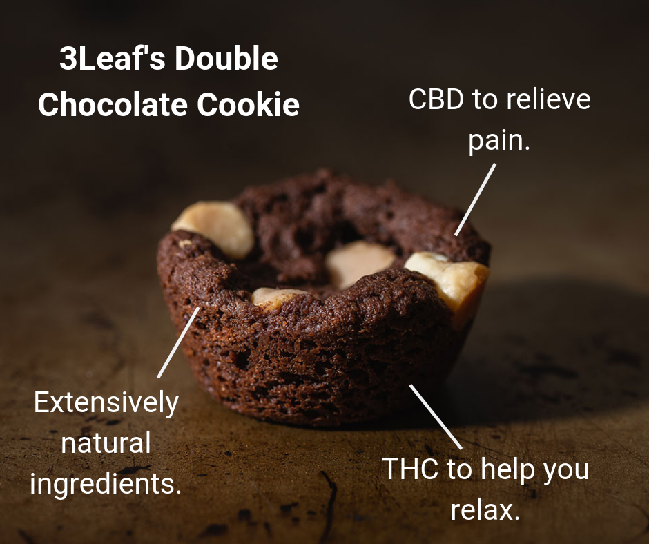 3Leaf's Double Chocolate Cookie make the best edibles for sleep because they are a perfect for new consumers who want to try edibles to help them sleep. Why? These ratio-infused edibles contain a blend of THC and CBD to to help you relax and simultaneously relieve pain.