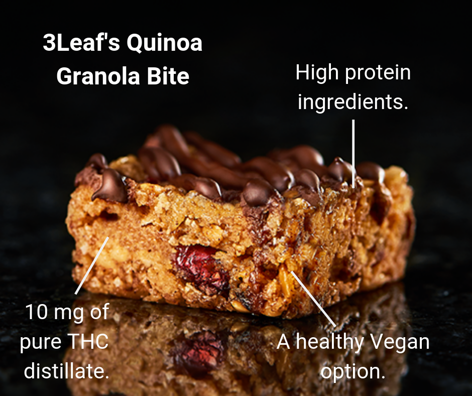 3Leaf's Quinoa Granola Bites make the best edibles for sleep because they are an effective, natural sleep aid. They contain high protein ingredients to keep you full for longer, and they have 10 milligrams of pure THC distillate for an effective cannabis experience.