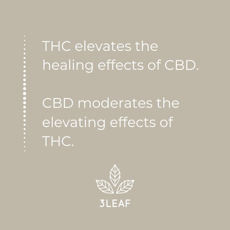 Quote: THC elevates the healing effects of CBD and CBD moderates the elevating effects of THC.