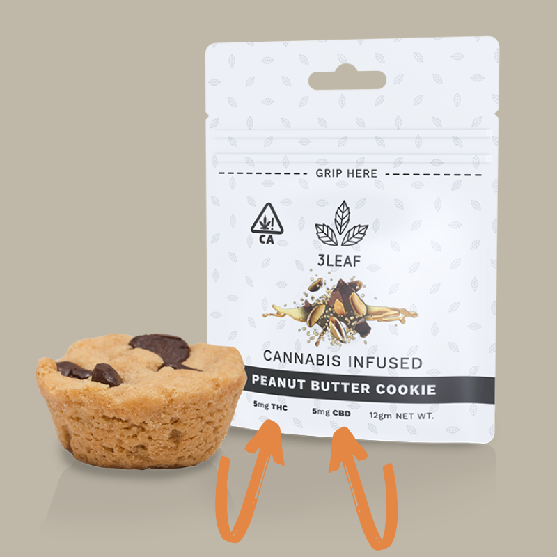 3Leaf's Peanut Butter Cookies are ratio-infused with an equal blend of THC and CBD distillate.