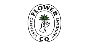 The logo of Flower Co. shows an illustration of a hand holding a cannabis leaf. It reads Flower Co., Cannabis Abundant.