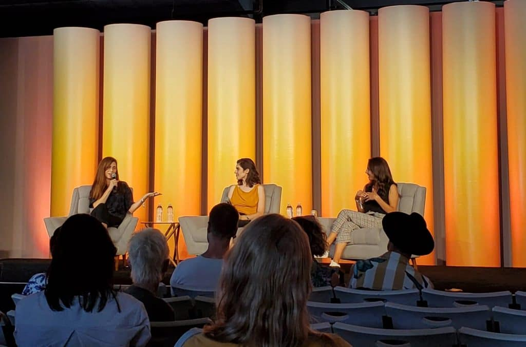 April Pride, Vanessa Lavorato, and Kate Miller in the speaker series at Hall of Flowers.